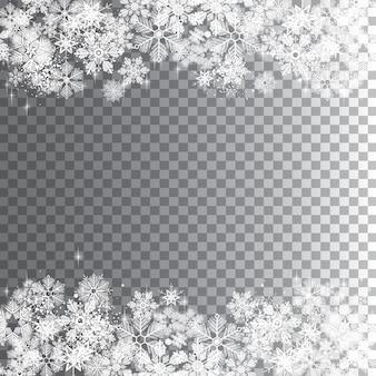 Прозрачный зимний фон снежинок, полный слоев