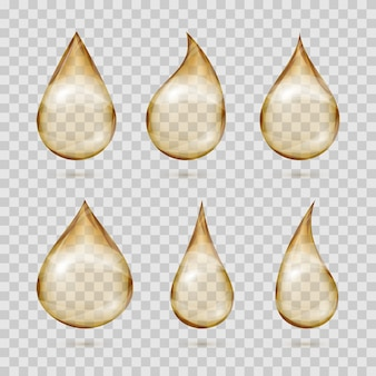 Transparent yellow oil drops vector set