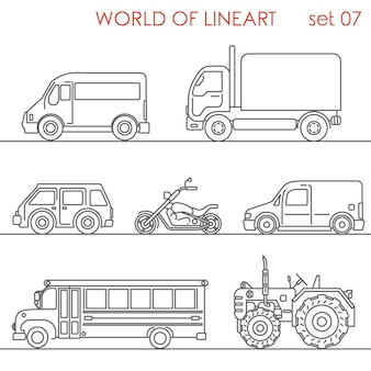 Transport aerial road moto tractor school bus al lineart  set. line art collection.