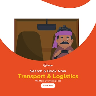 男性との輸送とロジスティクスのバナーデザインがトラックを運転しています