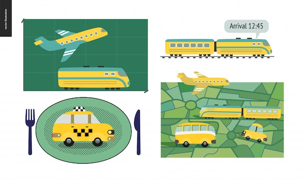 Transport by planet, train, bus o taxi