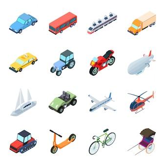 輸送漫画セットアイコン。孤立した漫画は、アイコンの旅行を設定します。イラスト輸送。