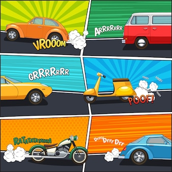 Transport comic frames with moving cars van motorcycle and scooter