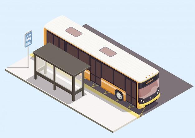 파란색 배경 3d에 정류장 근처 버스 수송 구성