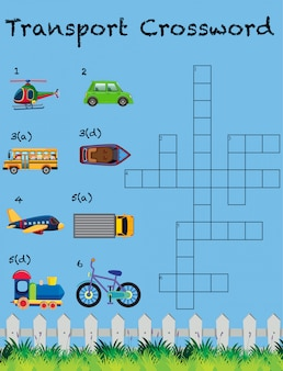 A transport crossword game template