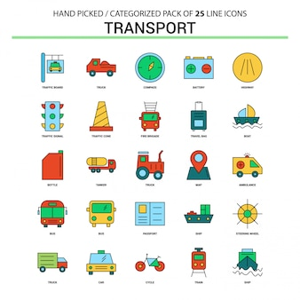 Transport flat line icon set