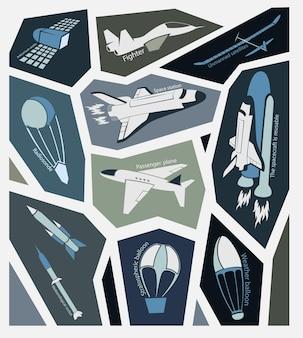 Транспорт летает в небе и в космосе. стикеры иллюстрации.