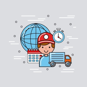 Transport global logistic cartoon