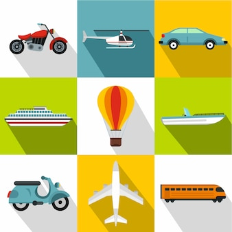 Transport icon set, flat style