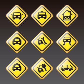 Transport icons over black background vector illustration