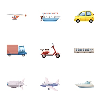 Transport icons set, cartoon style