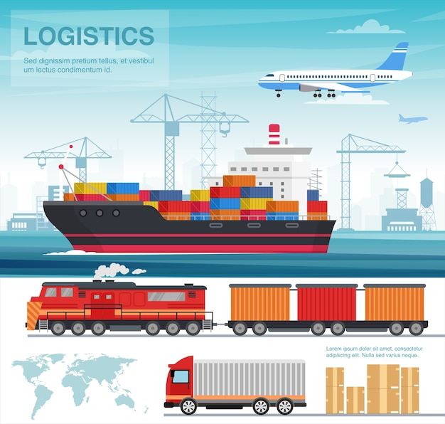 Transport industry flat illustration. transportation sector. international freight and cargo shipping by truck, cruise liner, plane. logistics and distribution. delivery service. global trading
