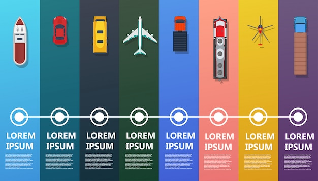 Transport infographic top view. flat bus, ship, truck, train, plane, helicopter, car.