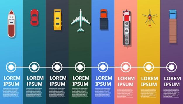 輸送インフォグラフィックトップビュー。フラットバス、船、トラック、電車、飛行機、ヘリコプター、車。