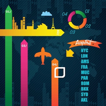 Transport infographics colorful airport information on dark background