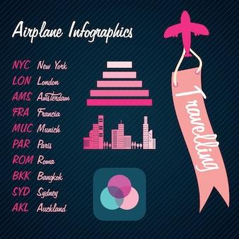 Транспорт инфографика красочные полетной информации на темном фоне