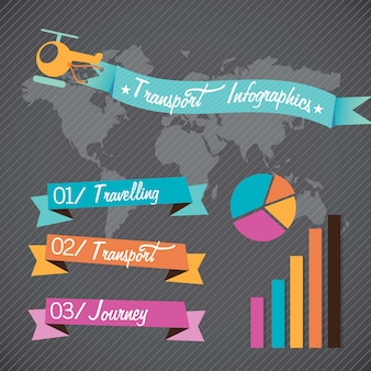Transport infographics concept with helicopter and ribbon