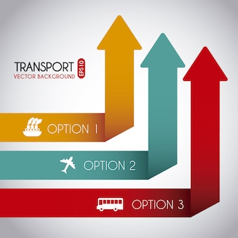 Transport infographics over gray background