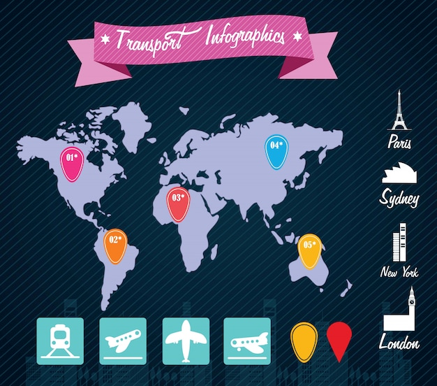 Transport infographics travels around the world