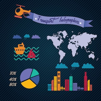 Transport infographics with (buildings map world continents airplane sailboat) on dark background