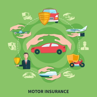 Transport insurance round composition on green background