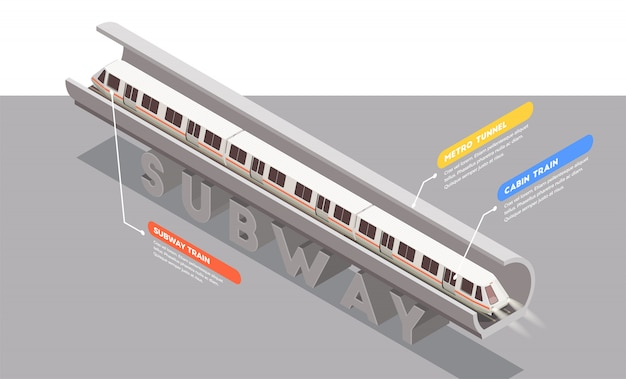 Transport isometric composition with subway train in tunnel 3d