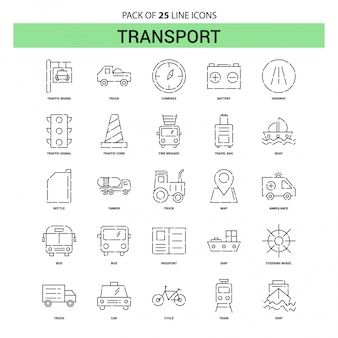 Transport line icon set - 25 dashed outline style