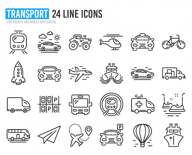 Transport line icons. set of taxi, helicopter and train.