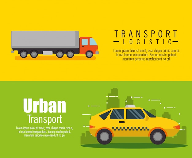Transport logistic set vehicles banner set