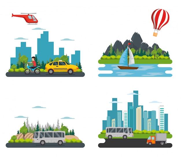 Transport logistic set vehicles