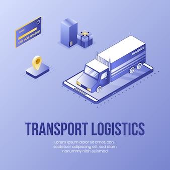 Transport logistics. digital isometric design concept
