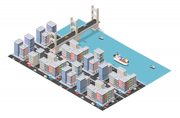 Transport logistics isometric city illustrated