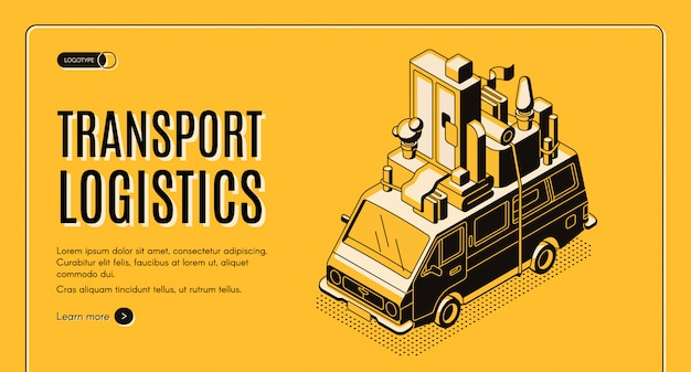 Transport logistics isometric vector web banner with wan transporting home furniture on roof line art illustration.