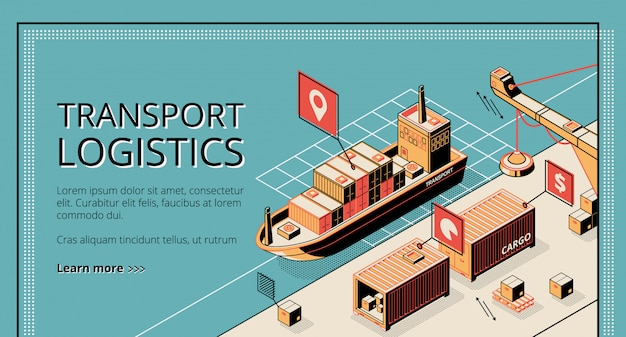 Transport logistics, ship port delivery service company landing page on retro style