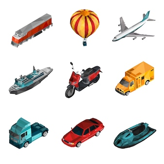 Transport low poly icons