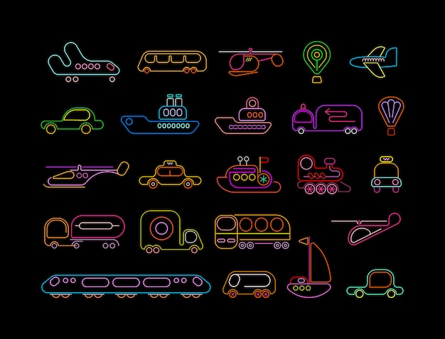 Transport neon icons