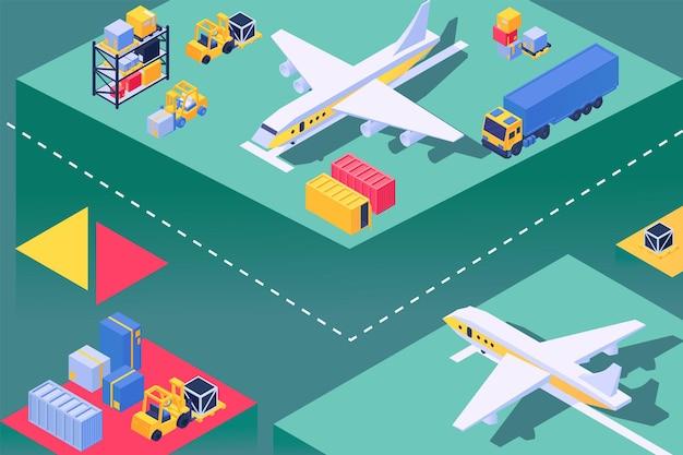 空港での輸送機、航空機サービスの読み込み、等角ベクトル図。貨物、貨物ボックスの飛行機輸送。