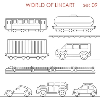 Transport railroad road wagon cistern container jeep al lineart  set. line art collection.