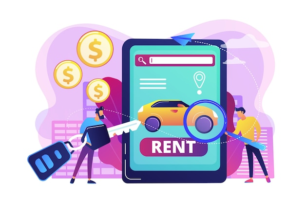 Transport renting app illustration