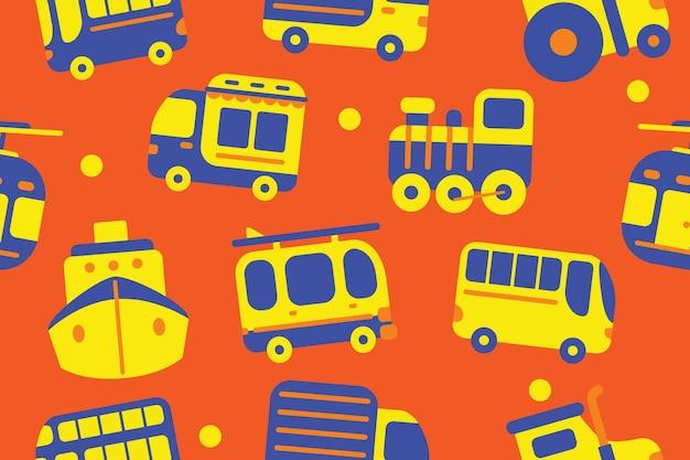 Transport seamless pattern in flat design style