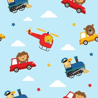 Transport seamless pattern kids background vector graphic