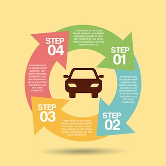 Transport service infographic scheme