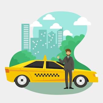 Transport service taxi app concept