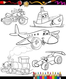 Transport set for coloring book