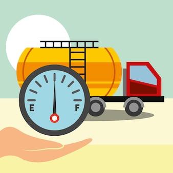 운송 트럭 연료 가스 석유 산업 벡터 일러스트 레이션