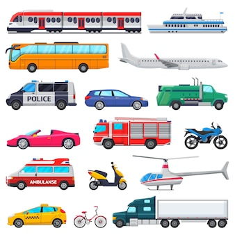 구급차 소방차 및 경찰 차의 도시 그림 세트에서 교통 벡터 대중 교통 차량 비행기 또는 기차와 자동차 또는 자전거 교통 흰색으로 격리