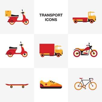 Transport vehicle icon set