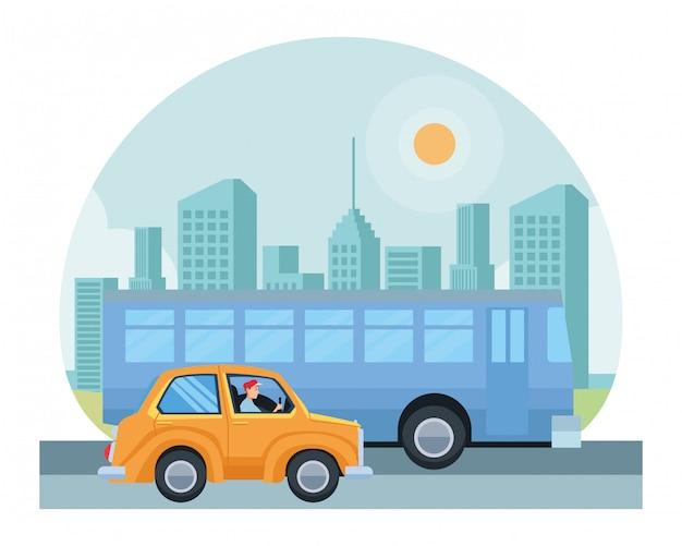 Transport and vehicles riding cartoon