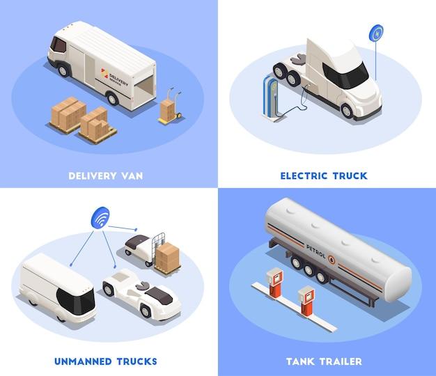 配達用バンと貨物輸送の3d分離図による輸送2x2アイソメトリックデザインコンセプト