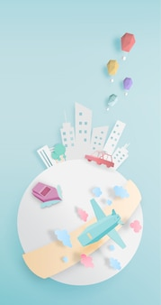 Transportation around the world with city paper art style
